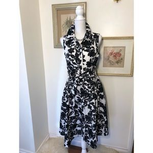 Eliza J Black/White, Floral Fit/Flair Dress Size10